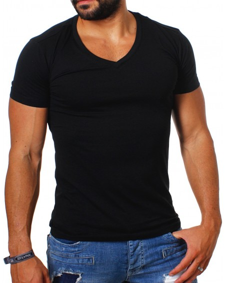 tee-shirt-uni-pas-cher-homme-noir-simple-fashion